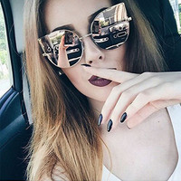 2016 GUVIVI Cat Eye Sunglasses Women Vintage Metal Frame Mirror Aviation Sun Glasses Unique Flat Ladies Sunglasses UV400 GY-3236