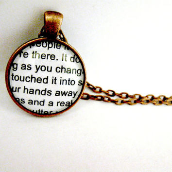 Fahrenheit 451 Quote Book Jewelry Book Necklace Book Pendant - Book Page Jewelry Book Page Necklace Book Charm Book Lovers Librarian Teacher