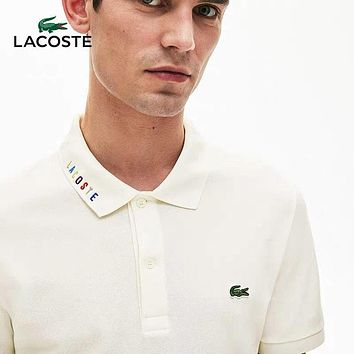 Lacoste Fashionable Men Women Casual Embroidery Polo Shirt Top White