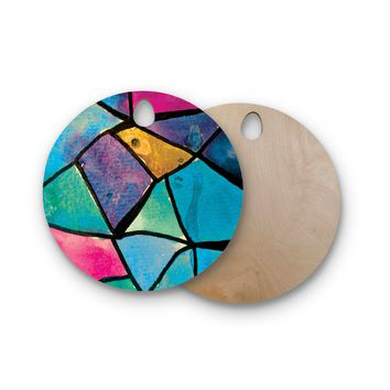 "Theresa Giolzetti ""Stain Glass 2"" Round Wooden Cutting Board"