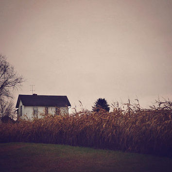 SALE Photography, Farmhouse, Abandoned, Rustic, Winter Photo, Fall Color, House, Country Decor, Autumn, Peach, Gray, Brown