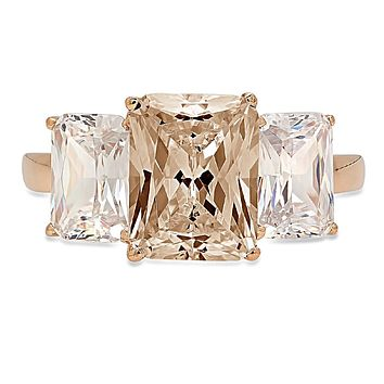 14K Rose Gold 2CT Emerald Cut Champagne Russian Lab Diamond Ring