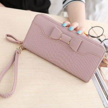 New Hot Sale Interior Slot Pocket Note Compartment Zipper 2016 Fashionable For Grain Women's Large Capacity Single Wallet Bag