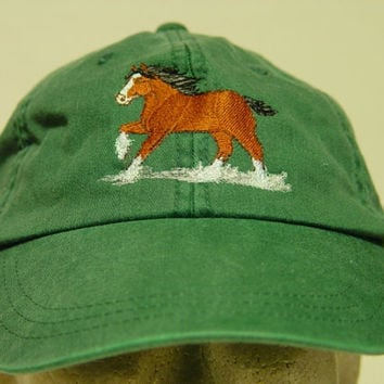 CLYDESDALE HORSE HAT - One Embroidered Men Women Cap - Price Embroidery Apparel - 24 Color Caps Available