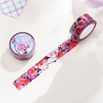 2cm*10m Purple Blooming washi tape DIY decoration scrapbooking planner masking tape adhesive tape label sticker stationery