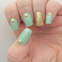Mint Fake Nail Set, Studded False Nails, Glitter Acrylic Nails, Gold Artificial Nail, Press On Nails - Glue On Nails - Gifts For Her