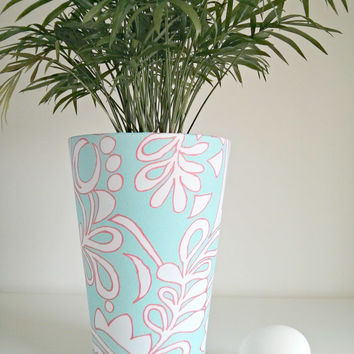 Large modern flower pot / plant pot covered in chic fabric / fabric covered plant pot / Ceramics and Pottery / Home Decor / Outdoor decor