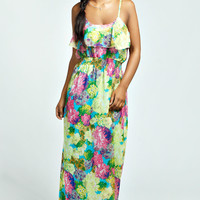 Hayley Ruffle Front Strappy Maxi Dress