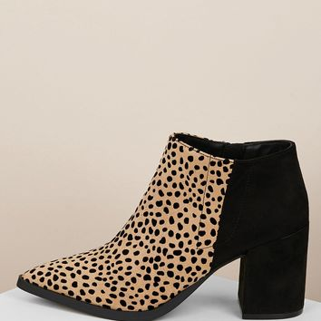 Pointy Toe Leopard Chunky Heel Ankle Boots