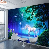 ShineHome-Large Custom Unicorn Wallpapers for Walls 3 d Living Room Dinning Bedroom Forest Wallpaper Wall Paper Covering Decor