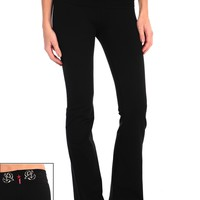 Hard Tail Bird Embroidered Roll Down Pant - Black