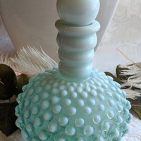 Opalescent Mint Green Hobnail Wrisley Perfume Bottle