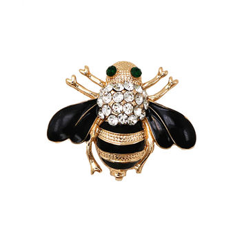 Fashion Jewelry Enameled Black Bee Brooch Pin Gold And Silver Colors Animal Pin Women's Jewelry Brooches