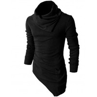 Mens Casual Turtleneck Slim Fit Pullover Sweater Oblique Line Bottom Edge (KMTTL046)