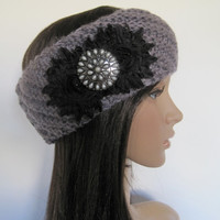 Grey Knit Ear Warmer Headband Head Wrap Winter Hats with Black Chiffon Flowers and a Matching Brooch Accent