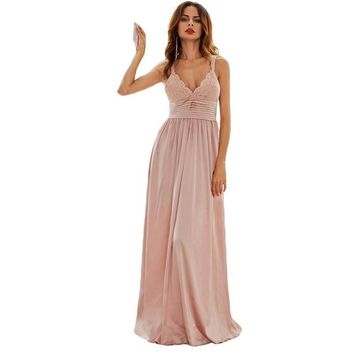 SheIn Long Party Dresses For Woman Summer Pink Spaghetti Strap Triangle Lace Top Pleated Waist Slip A Line Maxi Dress