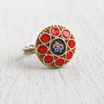Vintage Micro Mosaic Flower Ring - Gold Tone Adjustable Red Glass Italain Costume Jewelry / Round Floral Tile