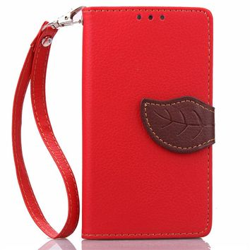 For Sony Xperia Z5 Mini Luxury Leather Cover Flip Wallet Phone Case With Leaves Buckle And Lanyard Mobile Phone Shell