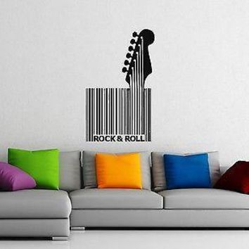 Wall Stickers Vinyl Decal Guitar Rock n Roll Music Barcode Room Decor Unique Gift (ig1066)