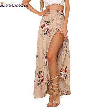 XINGUANGYA New 2017 Irregular Long Skirt Women Vintage White Floral Print Side Slit Wrap Maxi Skirt Boho Summer Beach Skirts