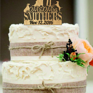 Wedding Cake Topper Silhouette Couple Mr & Mrs Personalized with Last Name and Two Dogs, Acrylic Cake Topper,Rustic Wedding Cake Topper