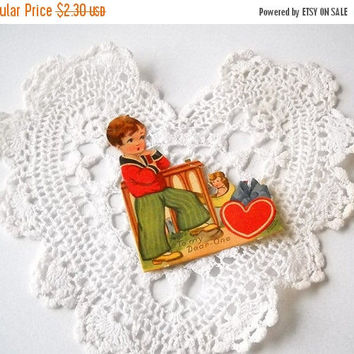 ON SALE - Die Cut Valentine Card, Vintage Stand Up Easel Back, Holiday Paper Ephemera, Art Deco Valentine's Day, Made In Germany