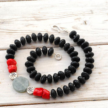 Lava Necklace, Black Lava Rock Red Coral Green Jade and Sterling Silver Statement Necklace, Bohemian Santorini Jewelry, Lava Jewelry