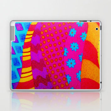 THE HIPSTER - Cool Colorful Vibrant Abstract Mixed Media Trendy Fabric Patterns Illustration Laptop & iPad Skin by EbiEmporium | Society6