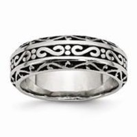 Stainless Steel 7mm Antiqued Wedding Band Ring