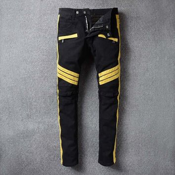 Brand Designer Patchwork Biker Jeans Men Distressed Moto Denim Joggers Washed Pleated Jean Pants Stitching Wash Locomotive Jeans