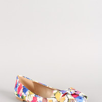 Qupid Floral Bow Round Toe Ballet Flat