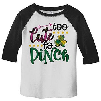 Shirts By Sarah Girl's Toddler Girl's Funny ST. Patrick's Day T-Shirt Too Cute To Pinch 3/4 Sleeve Raglan
