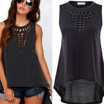 Sexy Women Retro Hollow Tank Tops Vest Top Sleeveless Casual Loose Shirt Blouse = 6091609219