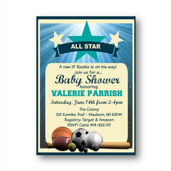 Sports Baby Shower Invitation All Star Rookie invite - printable football basketball soccer tennis baseball theme birthday boy tan blue