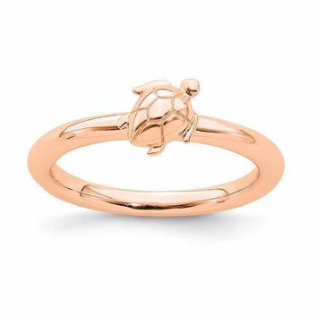 Rose Gold Sterling Silver Stackable Expressions Turtle Ring