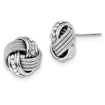 925 Sterling Silver Rhod.Swarovski Textured Polished Love Knot Earrings