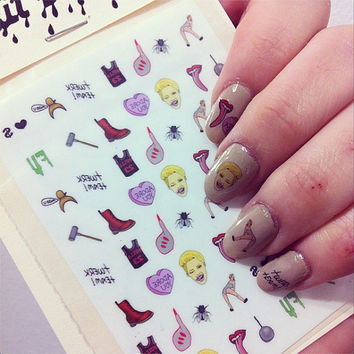 MILEY CYRUS - waterslide nail decals - free shipping U S A - Andy Paerels