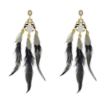 Ladies Fancy Black and White Feather Crystal Stone Earrings Goldtone Dangle Charms Post Earrings