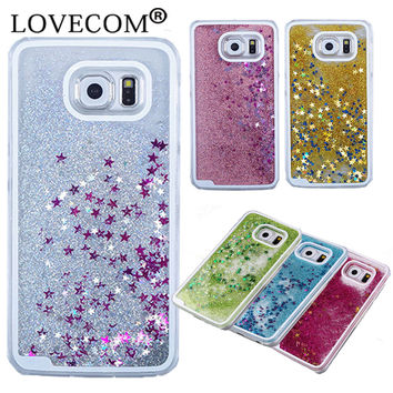 For Samsung Galaxy S3 S4 S5 S6 S7 Edge Plus Note 3 4 5 Cover Glitter Star Dynamic Liquid Quicksand Transparent Hard Phone Case