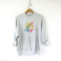 vintage thin gray sweatshirt. 80s McDonald's slouchy grunge sweater. 1980s crew neck pullover. distressed Sweatshirt. L XL