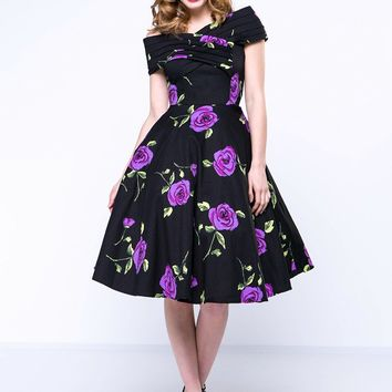 Casual Floral Printed Vintage Awesome Open Shoulder Skater Dress