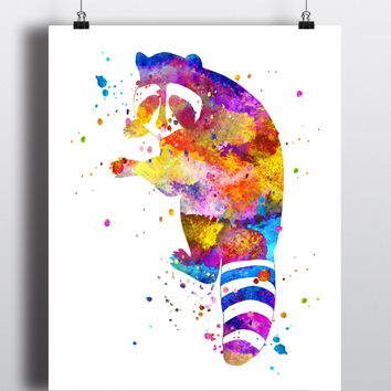 Raccoon Watercolor Art Print - Unframed