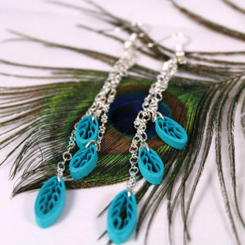 Boho Earrings Long Fringe Earrings, boho jewelry, dangle leaf earrings, dangle chain earrings, paper quill earrings, multiple color choices
