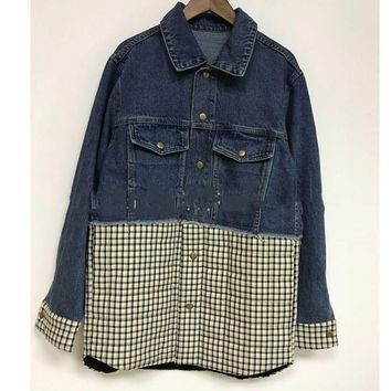[EWQ] 2018 Fashion Turn-down Collar Plaid Patchwork Women's Denim Jacket Trendy New Autumn Personality Clothes Coat BE051