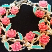Vintage Carved Celluloid Rose Faux Pearl Bracelet Unsigned Early Coro ? Fashion