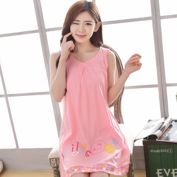 2017 Summer 100% Cotton Women Sleeveless Nightgown Female Casual Outwear Lady Sleepdress Girl Pijama Home Clothing Plus Size 3XL
