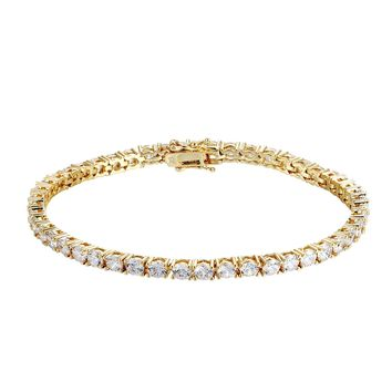 Men's 3mm Solitaire 14k Gold Finish Tennis Link Bracelet