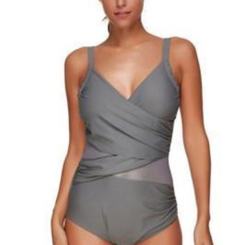 Bewitching Padded Across Mesh Plus Size Swim Cover