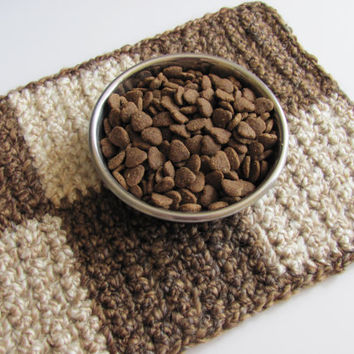 Pet Food and Water Placemat, Brown Checkered Pattern, Absorbent Washable Crocheted Fabric For Small  Dogs and Cats, Made in USA