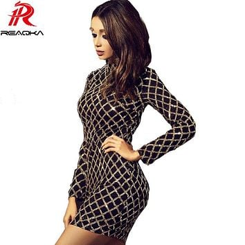 Autumn Winter Black Long Sleeve Sequins Dress 2018 Sexy Bodycon Sheath Gold Pattern High Neck Party Dresses Nightclub vestidos
